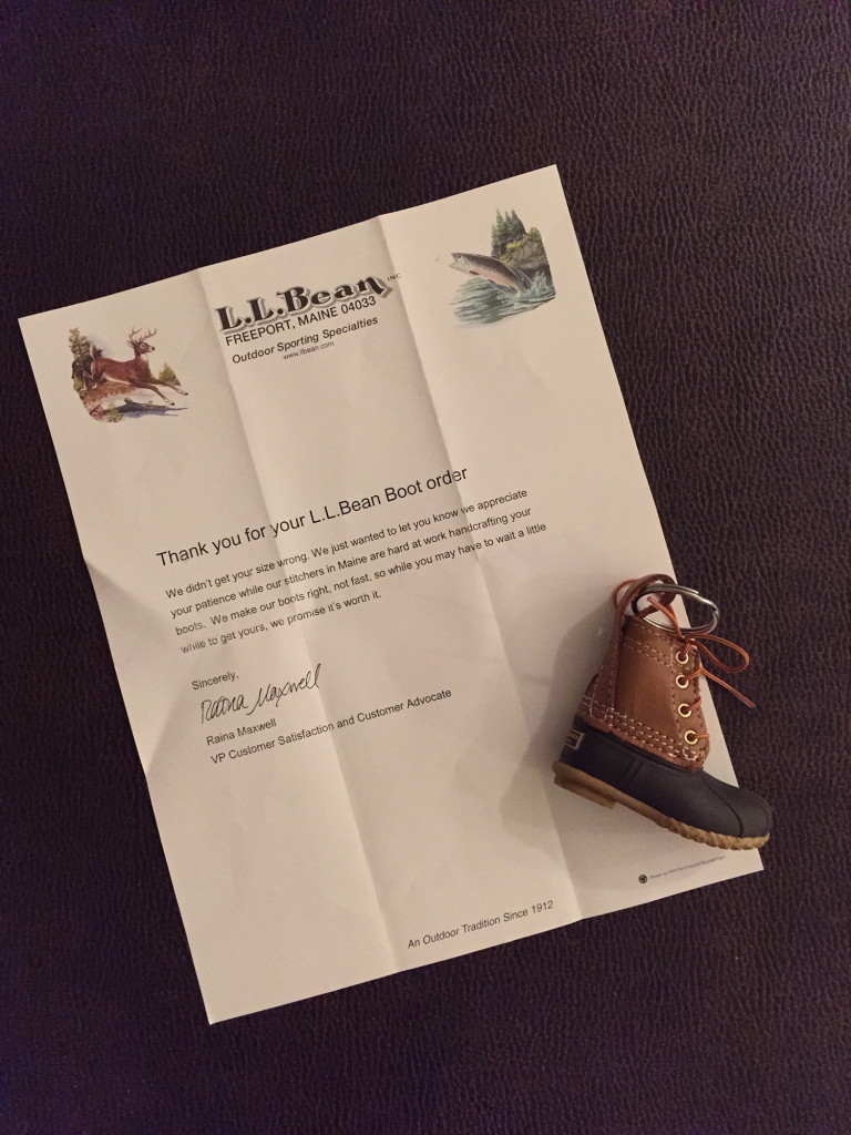An actual letter I received in the mail from L.L. Bean